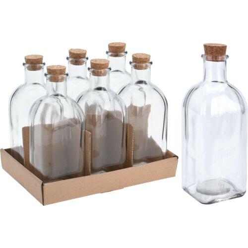 Set of 6 Large Square Glass Bottles & Cork Perfume Bottles Liquor Bottles 500ml