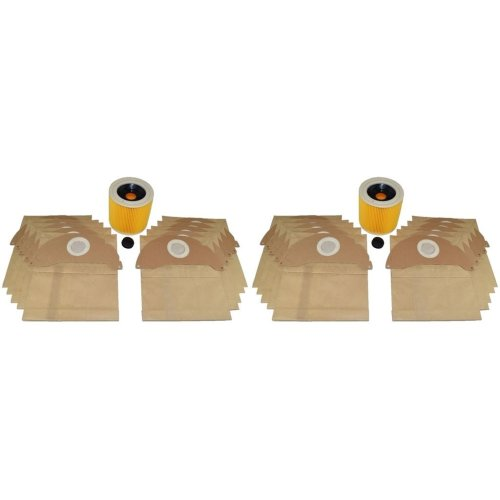 20 x Wet & Dry Vacuum Dust Bags & 2 Filters Fits Karcher WD2.240