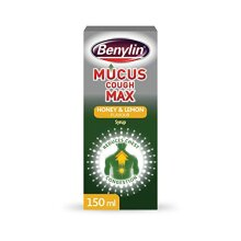 Benylin Mucus Cough Max, Honey and Lemon Flavour, Reduce Cough Intensity from Day 1, Cough Medicine for Adults, 100 mg/5 ml Syrup, 150 ml
