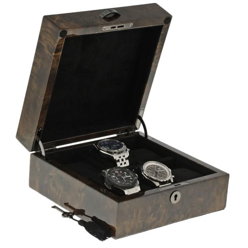 Premium Quality Dark Burl Wood Watch Collectors Box for 6 Watches with Solid Lid by Aevitas