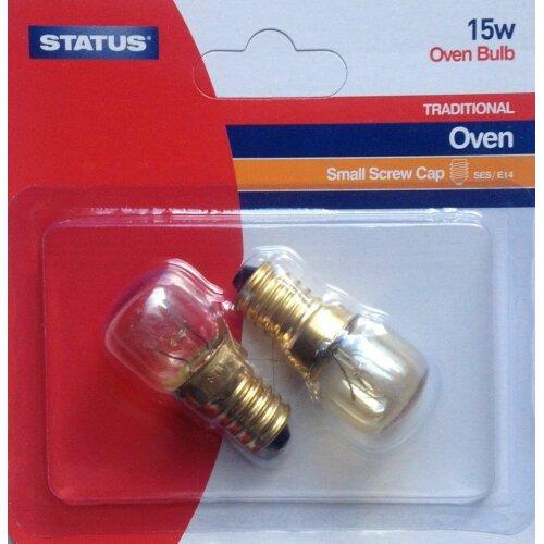 2 x 15w Oven Bulb Small screw Cap- 300 degs
