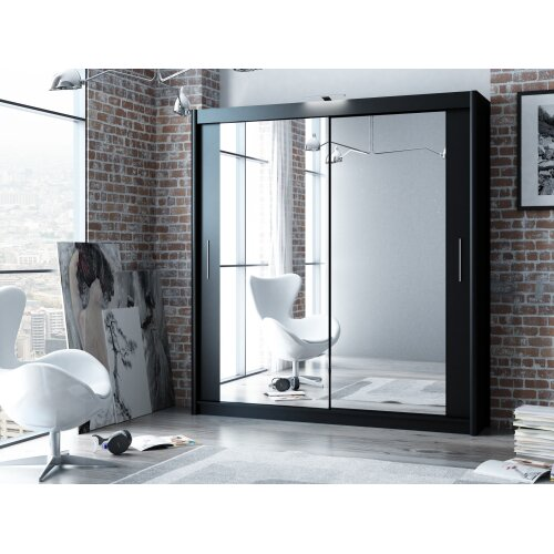 Modern Black Sliding Door Wardrobe PARIS  with Mirror