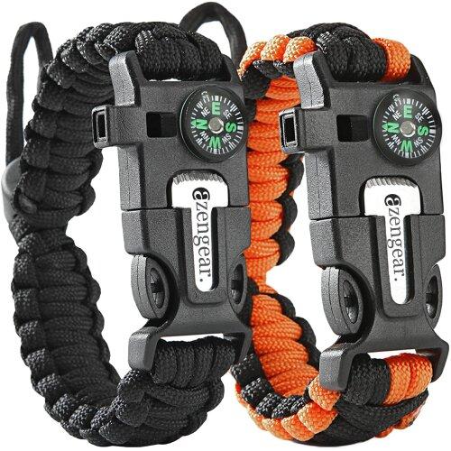 Paracord Survival Bracelet (Pair) - Fire Starter, Whistle, Compass