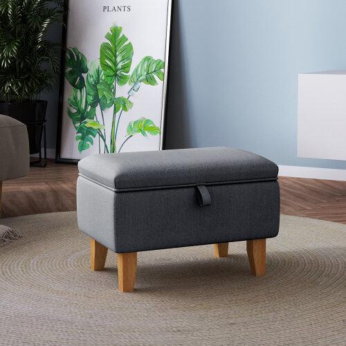 (Dark Grey) Storage Ottoman Storage Box Footstool Chair Bench