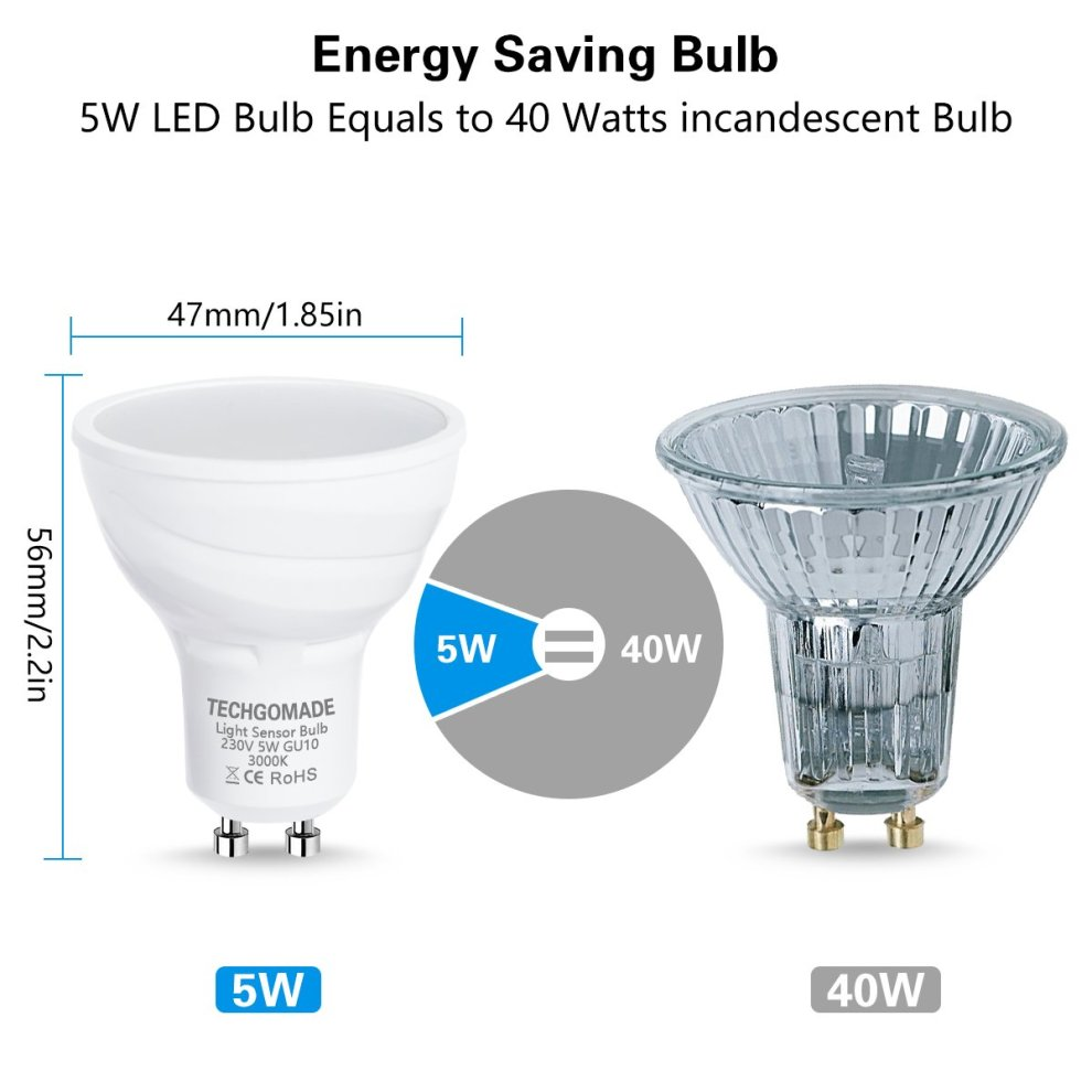 5W 40W Bulb 2 Light Sensor Bulbs TECHGOMADE GU10 Dusk to Dawn LED Light Bulbs