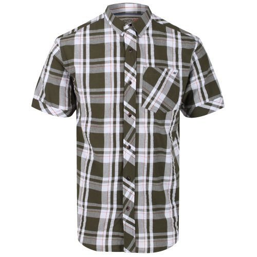 (M, White/Camo Green) Regatta Mens Deakin III Short Sleeve Checked Shirt