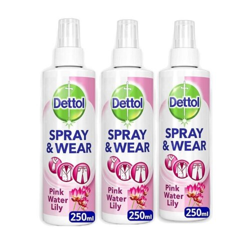 (Waterlily, 250ml x 3 bottle) Dettol Spray and Wear Fabric Clothes Freshener Spray Pack of 6 / 10 x 250 ml Free Tissue