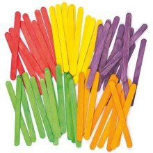 Baker Ross Coloured Wood Craft Sticks Value Pack— Ideal for Kids' Arts and Crafts, Gifts, Keepsakes and More (Pack of 200)