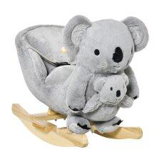 HOMCOM Kids Plush Ride-On Rocking Horse Koala-shaped Toy w/ Gloved Doll Grey