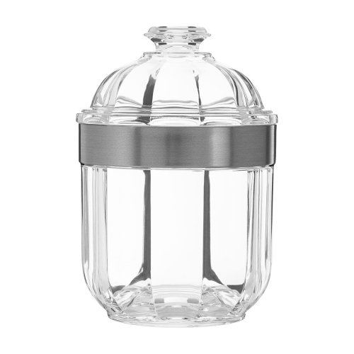 Fluted Design Clear Acrylic Canister Silver Rim
