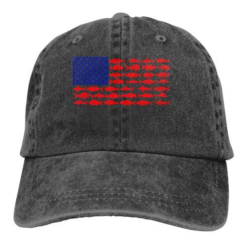 USA American Patriotic Fish Flag Denim Baseball Caps