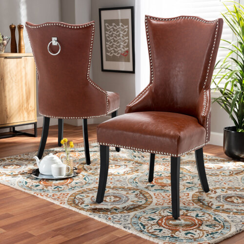 Faux Leather Studded Dining Chair Upholestered Accent Side Chair