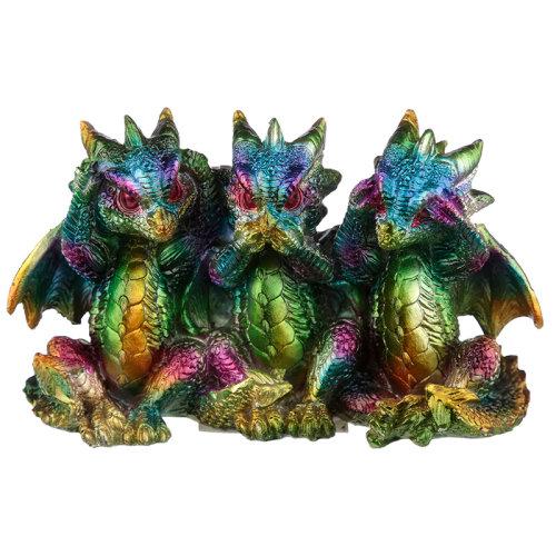 Hear No See No Speak No Metallic Rainbow Dragon Figurine