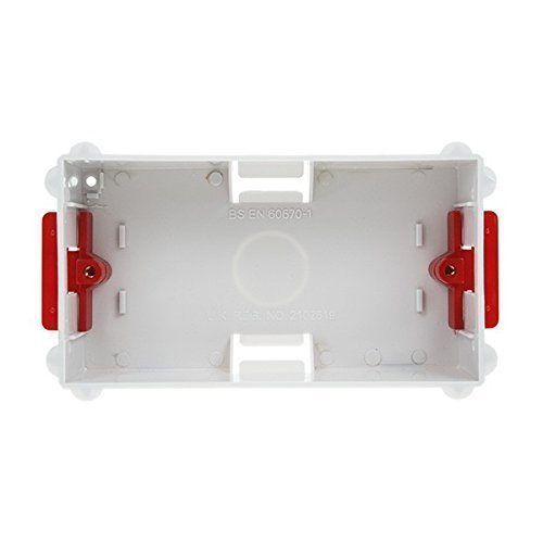 2 GANG WHITE SINGLE DRY LINING PLASTERBOARD PATTRESS BACK BOX TO BS EN 60670-1