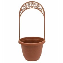 Terracotta Colour Round Plastic Plant Flower Planter Pot with Welcome Trellis