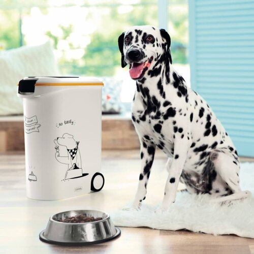 Curver Pet Food Container Dinner is Served Dog with Wheels 54L Plastic Box