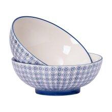 Patterned Salad Bowl Serving Fruit Porcelain Bowls Blue Flower - 304mm x2
