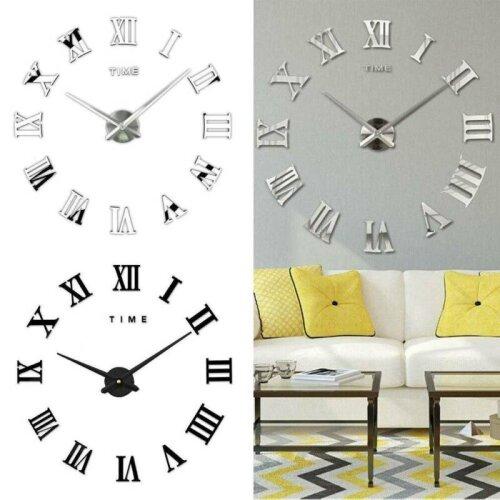 DIY 3D Large Roman Numerals Mirror Wall Clock Sticker Home Office Bedroom Decor