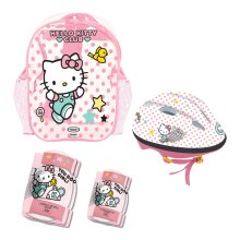 HELLO KITTY Club Children's Helmet, Knee, Elbow Protection Set with Carry Bag