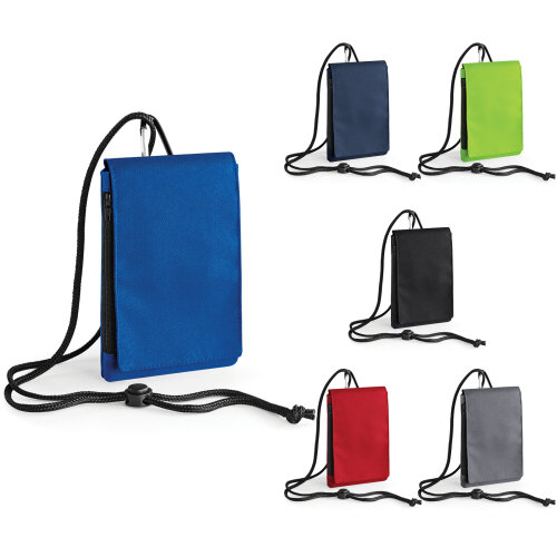 BagBase Plain Large XL Mobile Phone Pouch Travel Case Holder With Zip Pocket