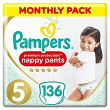 Pampers Premium Protection Nappy Pants Size 5 136 Nappy Pants 12-17 kg Monthly Saving Pack Gentlest Touch On Skin In Easy-On Nappy Pants