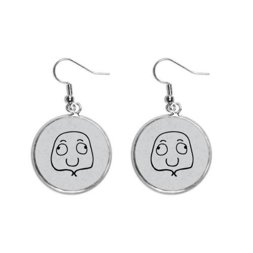Eyes Look Both Sides Black Emoji Ear Dangle Silver Drop Earring Jewelry Woman