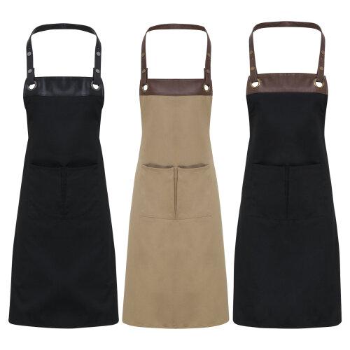 Unisex Espresso Bib Leather Trim Apron With Pocket Chef Café Waitress Waiter