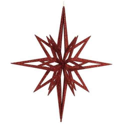 Vickerman M148403 Red 3D Glitter Star Ornament, 24 in.