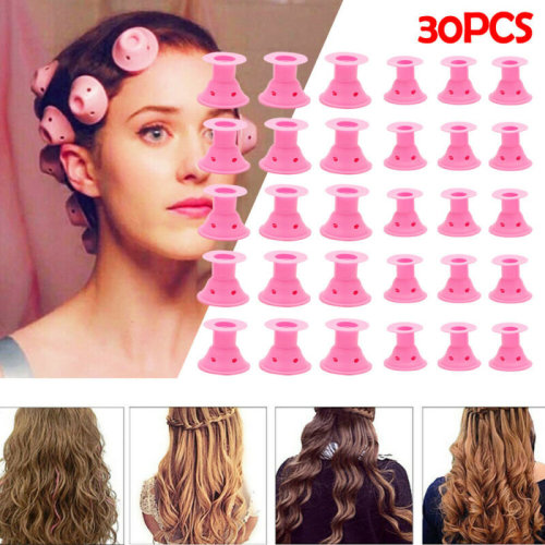 30PCS Silicone Hair Curler Sets Spiral Soft Roller Hair Care No Heat