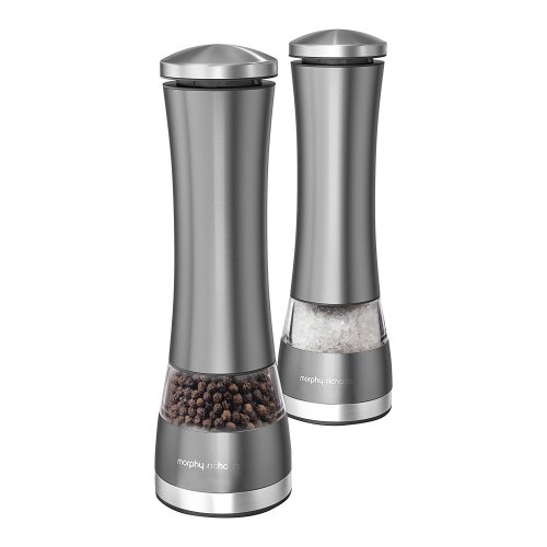 Morphy Richards 974237 Accents Electronic Salt and Pepper Mill Set, Stainless Steel, Titanium