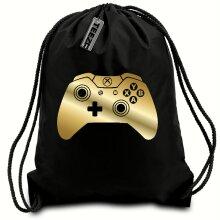 Black & Gold Games Controller drawstring bag, Swimming bag