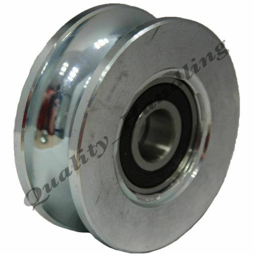 Gate wheel pulley wheel 80mm Round groove Double bearings steel wheel
