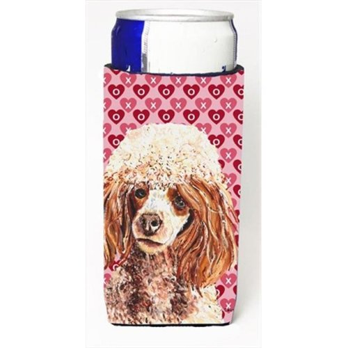 Red Miniature Poodle Hearts And Love Michelob Ultra bottle sleeves Slim Cans  12 Oz.