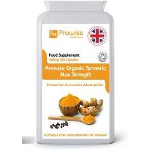 Prowise Organic Turmeric Max Strength 600mg - 120 Capsules
