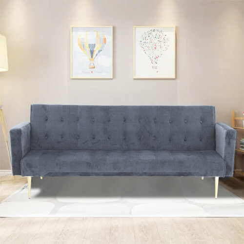 Velvet Sofa Bed Grey With Rose/Golden Legs Elegant Sofa bed