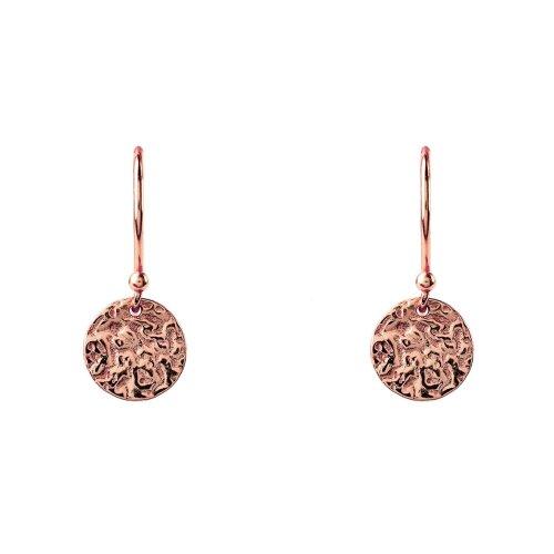 Latelita Sterling Silver Disc Round Moon Hook Earrings Rose Gold Plain