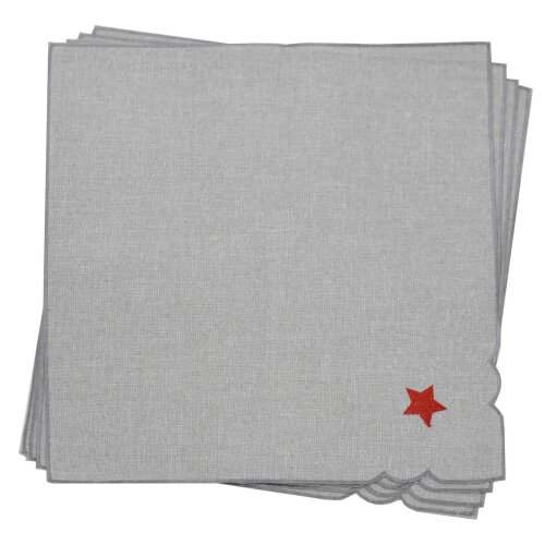 """Pack Of 4 Christmas Napkins Grey Fabric Luxury Embroidered Presents 16x16"""""""