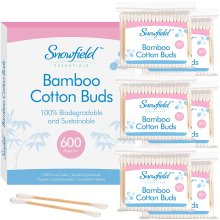 600 pk Bamboo Cotton Buds (6 x 100) by Snowfield   100% Biodegradable