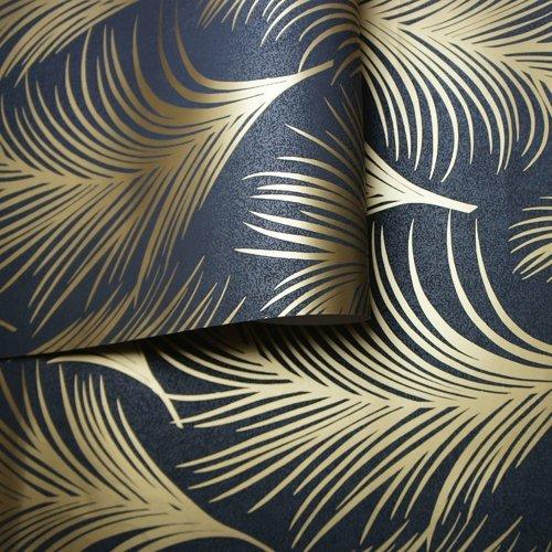 Holden Metallic Feather Pattern Wallpaper Leaf Motif Modern Textured 50082