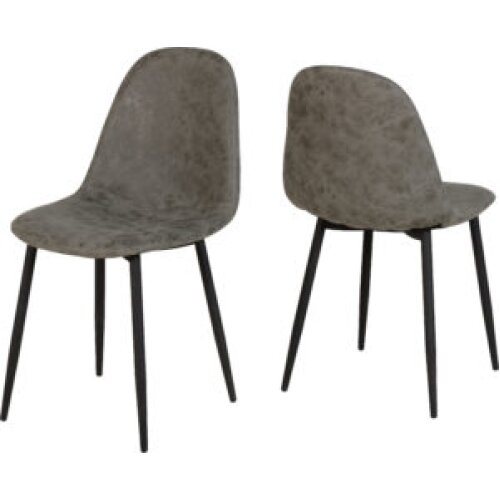 Seconique Athens Metal Dinning Chair Fabric Grey