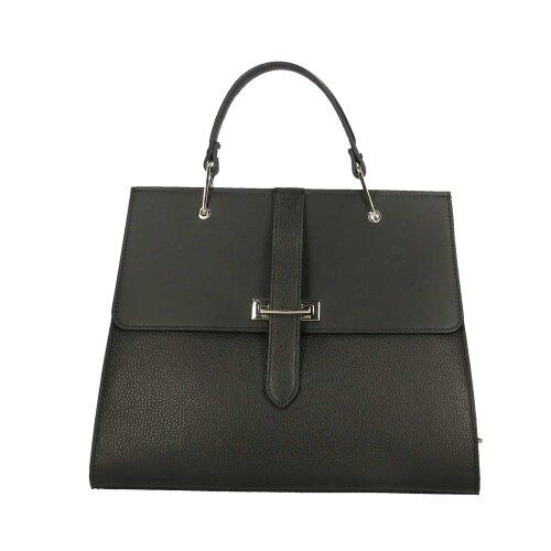 (Black) 35x29x10 cm Leather Handbag - Made in Italy