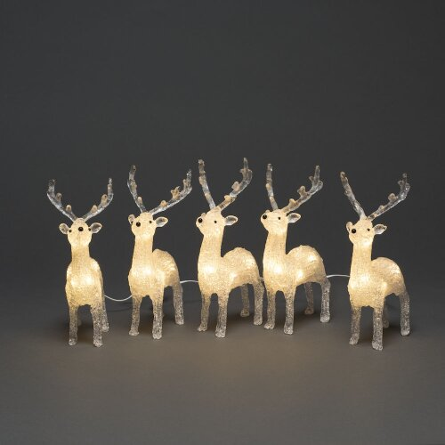 In / Outdoor 40 LED Acrylic 5 pc Warm White Reindeer Light Up Xmas Decoration