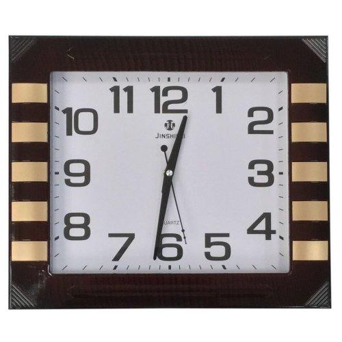 Rectangle Large 40cm x 35cm Wall Clock Mahogany Effect Wood Frame & Gold Finish