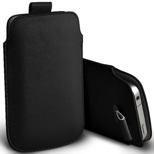 Samsung Galaxy A8 (2018) Black Pull Tab Sleeve Faux Leather Pouch Case Cover (XXXXL)