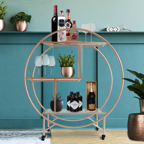 (Rose Gold Drinks Trolley Bar Cart - Large) Drinks Trolley Bar Cart Art Deco 30s Vintage Side-table