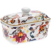 Anthina Florals Fine China Ceramic Butter Dish w/ Bell Top Lid Dishwasher Safe