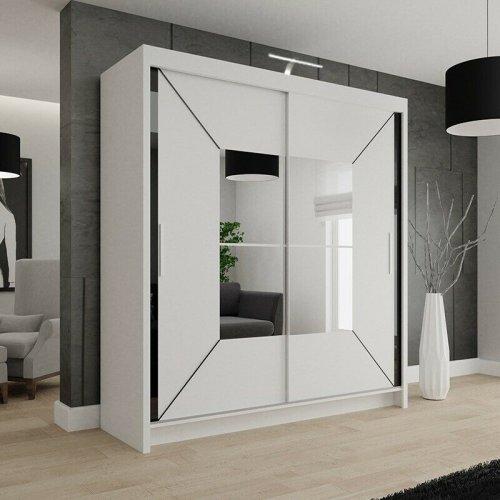 (180cm, White) Nicole Double Mirrored Wardrobe | Sliding Wardrobe With Light