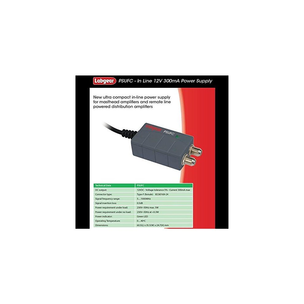 Labgear Screened Masthead Amp Power Supply 12V 100mA New Uk Seller