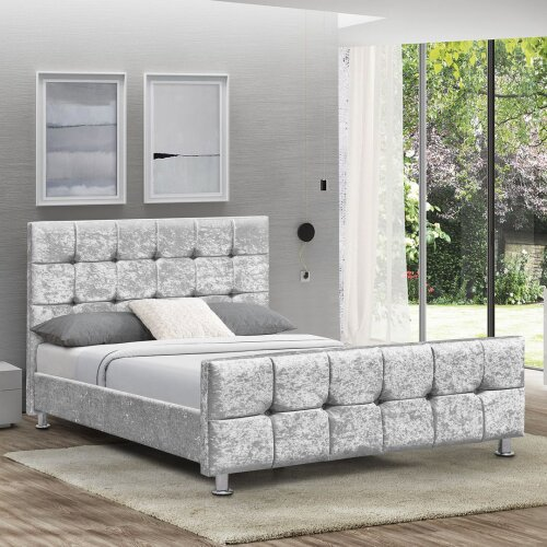 (Crushed Velvet Silver, Double) Home Discounts Valentina Bed Frame