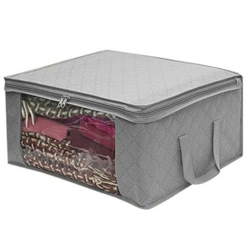 (1PC, Grey) Clothes Storage Bags Ziped Organizer Underbed Wardrobe Closet Box
